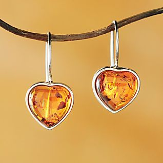 Baltic Amber Heart Earrings | National Geographic Store