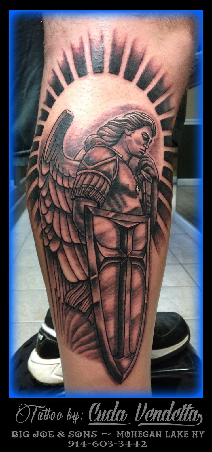 TATTOOS BY CUDA VENDETTA  My interpretation of the St. Michael statue at the basilica of our lady of Guadalupe in Mexico city! BIG JOE & SON'S TATTOO - MOHEGAN LAKE NY 914-603-3442