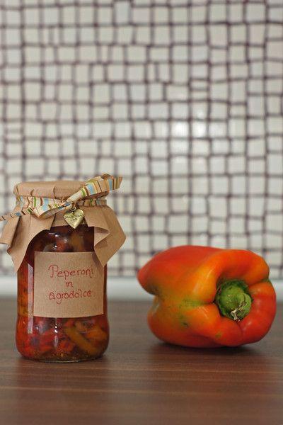 Peperoni in agrodolce - Sötsur paprika #Recept #Italienskt #Konservera