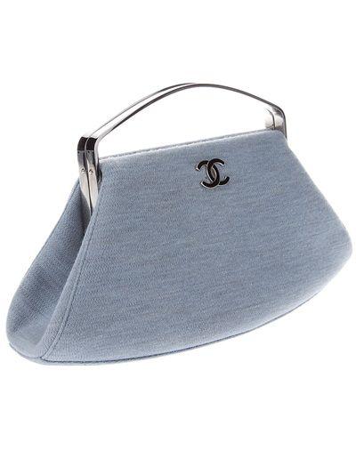 vintage CHANEL lavender blue cotton & silver frame bag