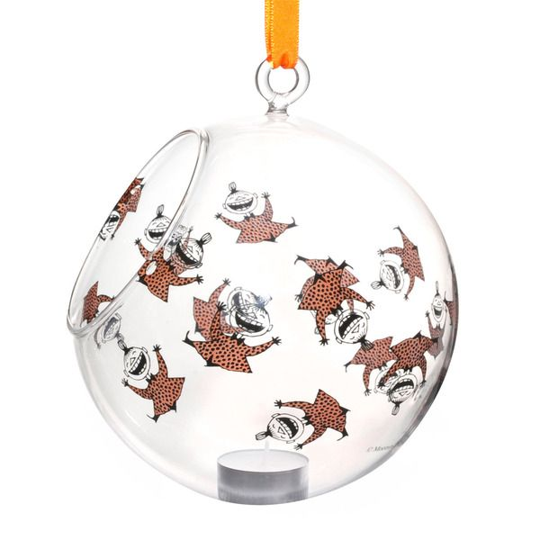Moomin decoration balls are stylish and a nice way to decorate your home. This one features happy Little My in orange coloring. Place a candle in it and bring the Moomin characters to life.