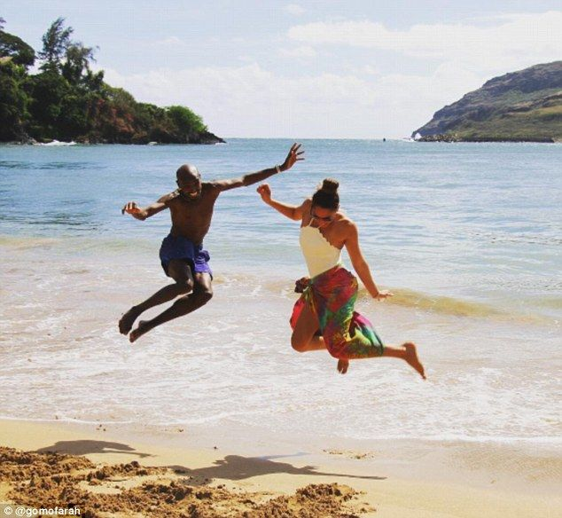 Jump! For my love! Mo Farah will always cut an impressive figure on the beach as he joined his equally gym-honed wife Tania for a family getaway to Hawaii, where they lived it up on the idyllic shores