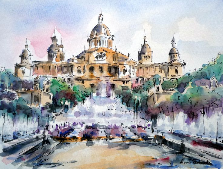 https://flic.kr/p/77oBdr | Montjuïc. Barcelona. | The Montjuïc fountains operate weekwnds and major holidays. Drawing taken from the Mª Cristina Av. (Ink and watercolor).