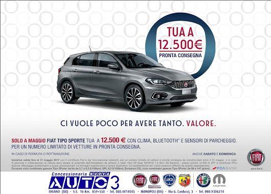 Solo a #Maggio, Fiat #tipo5porte tua a 12.500 € sulle vetture in pronta consegna.  www.nuovaauto3.it