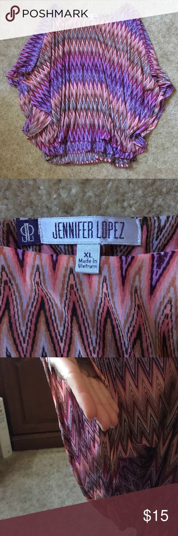 Jennifer Lopez Poncho Blouse Aztec patterned poncho style batwing top in perfect condition. Jennifer Lopez Tops Blouses