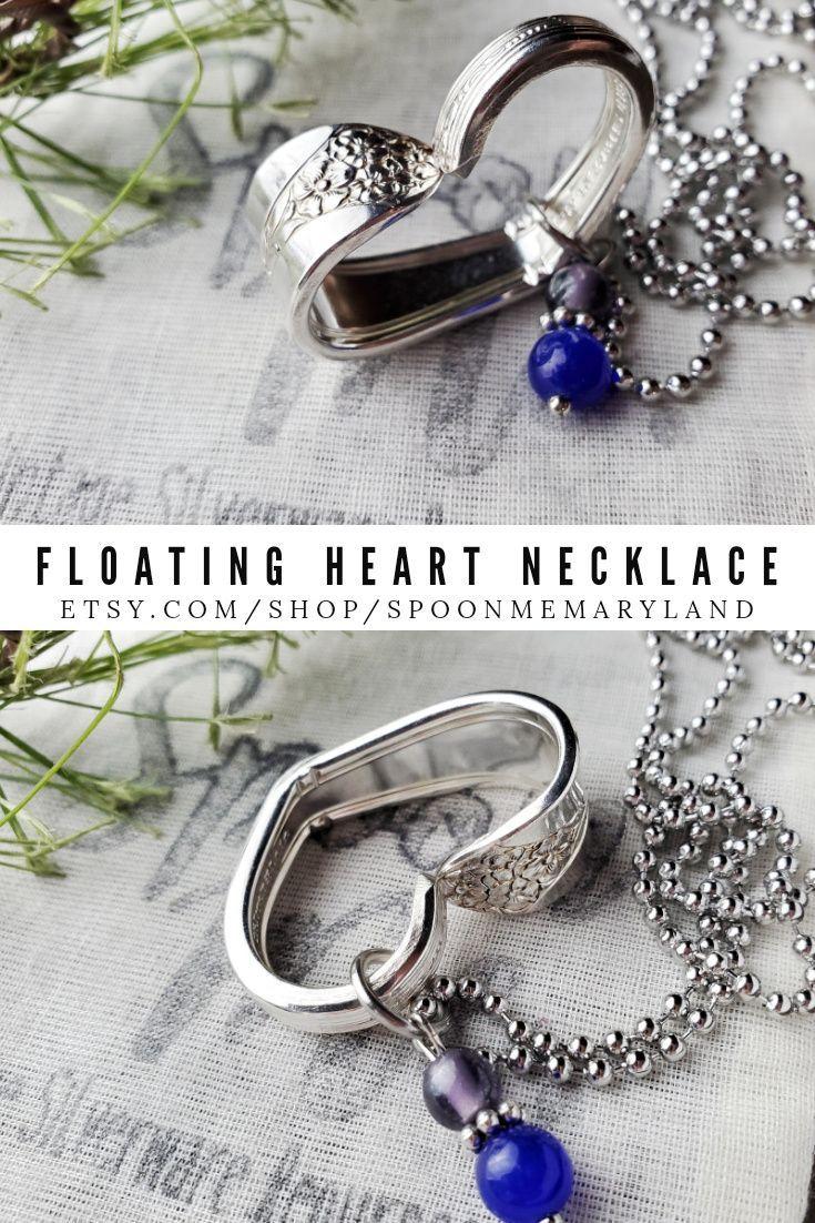 floating heart silverware pendant Floating heart spoon necklace I love you pendant silverware heart pendant Daffodil Spoon Pendant