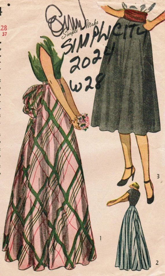 Vintage 1947 Simplicity 2024 Misses' Daytime and Evening Skirts
