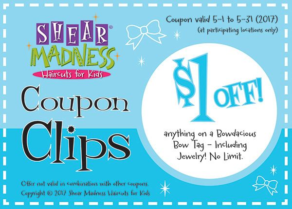 $1 off anything on a Bowdacious Bow tag! See: http://franchise.shearmadnesskids.com/save-shear-madness-partners #coupons #salonspecials #kidssalon #kids #kidshaircuts