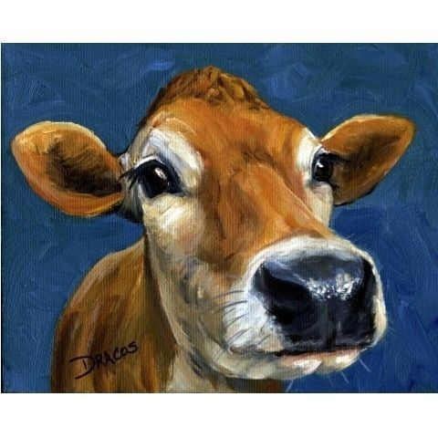 Jersey Cow Farm Animal Art Print of Original Painting by Dottie Dracos on Etsy, $12.00
