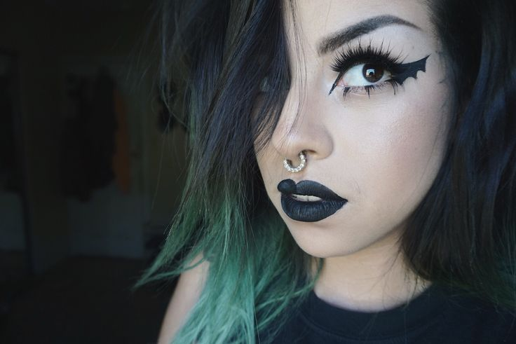 Bat wing. Bat wing eyeliner. Bat makeup. Kat von d liquid lipstick in WICKED.