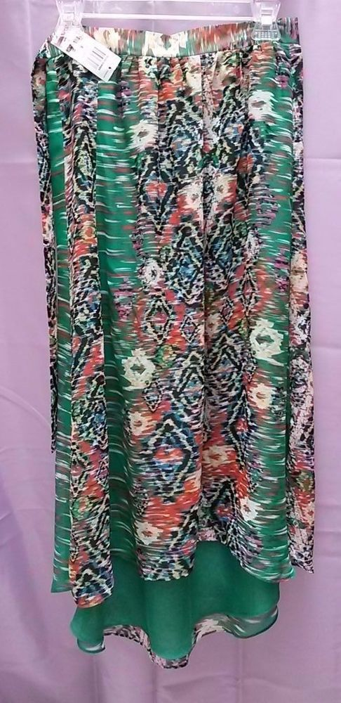 Macy's INC Tropical Sheer Lined Waterfall Skirt Elastic Back Waist NWT $79  #INCInternationalConcepts #Waterfall