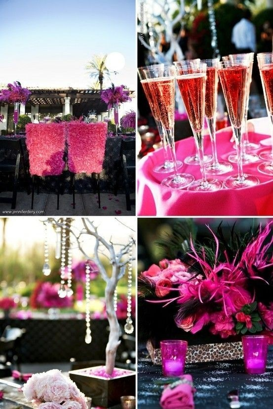 When I first heard it was pink and black, I immediately thought of black feathers.  Seeing this, I also like the idea of incorporating leopard print.  This wedding, however, is too much! betty-s-wedding