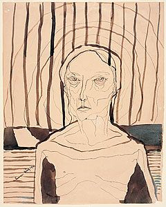 """A human being"", drawing 1945. The skeletal body of the woman is surrounded by parallel vertical and horizontal lines emphasising the power of the mind against the fragility of the body. The eyes are the centres of the radiating circular lines, but their pupils seem dead and cold. Although Hester started with recollections of the concentration camp footage, this portrait also became a reflection of her mother as perpetrator and victim, trapped in her own psyche."