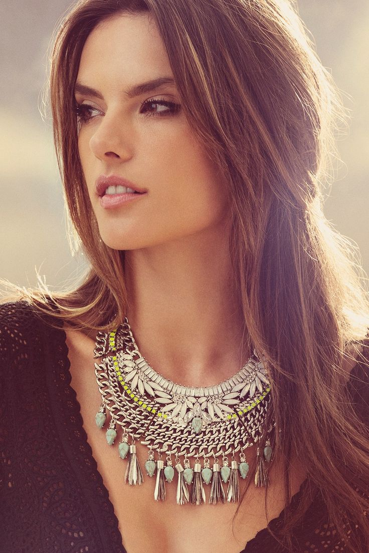 Bohemian meets neon meets glam... we love this statement necklace from Alessandra Ambrosio's collection!