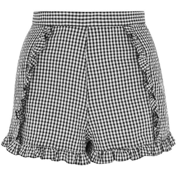 TopShop Gingham Crinkle Shorts (850 UYU) ❤ liked on Polyvore featuring shorts, monochrome, gingham shorts, ruffle shorts, frilly shorts and topshop shorts