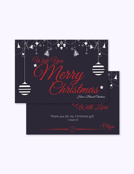 Free Christmas Gift Thank You Card Christmas Designs  Templates