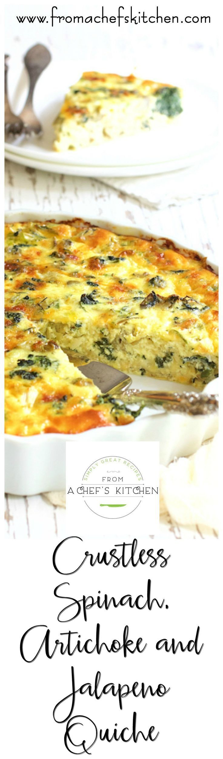 Crustless Spinach, Artichoke and Jalapeno Quiche is quiche with a kick!