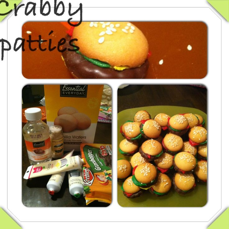 Krabby patties spongebob birthday party. Vanilla wafers for the buns. Green, yellow and red frosting on side of vanilla wafers. Grasshopper cookies for the meat in the hamburger. Squish together. Corn syrup and sesame seeds on top. Easy no bake!! (frosting for cookies corn syrup)
