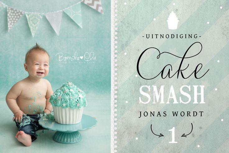 Hip in vintage stijl uitnodiging kinderverjaardag één jaar met cake smash foto. Fotografie Brenda Olie.