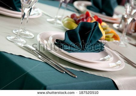 catering table set service with silverware, napkin and glass at restaurant before party - stock photo