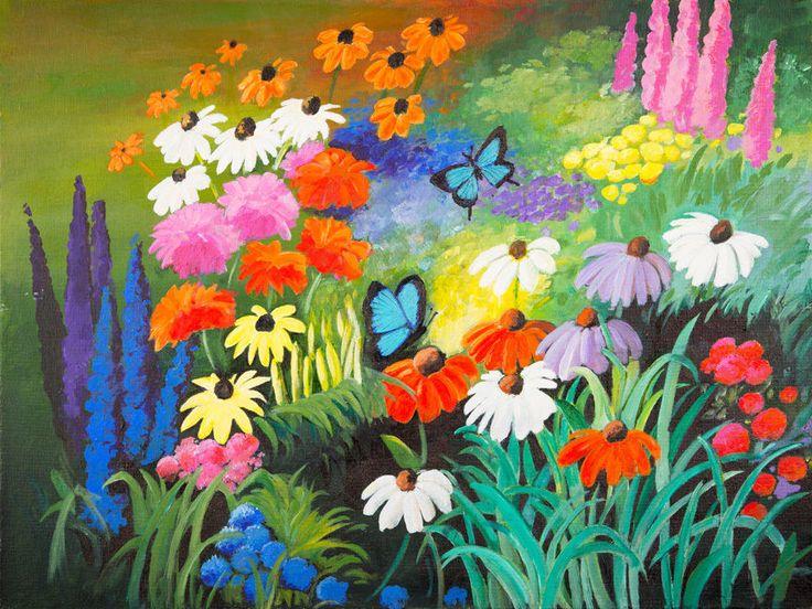 #buyartforless CANVAS Blue Butterfly Garden Painting Art Gallery Wrap by Elizabeth Stacke #ArtDeco