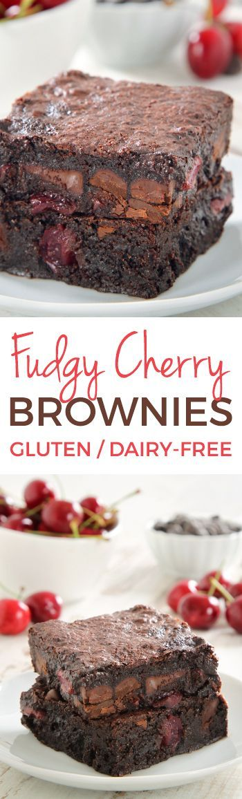 Super Fudgy Chocolate Cherry Brownies (gluten-free, dairy-free,100% whole grain options)