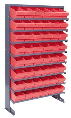 Pick Rack Single Sided 12 x 36 x 60, 8 Shelves, 44 RED Bins Assorted Sizes by Quantum. $675.09. . Sloped shelvingprovides easy access to stored items. Drawers can be removed from racks easily. These graybaked enamel, free standing racks assemble easily. Mobile unit has a 500 lb. capacity and isequipped with 2 swivel, 2 rigid castersSturdy steel racks with Super Tuff Euro Drawers create an efficient flow rack. Sloped shelvingprovides easy access to stored items. Drawers...