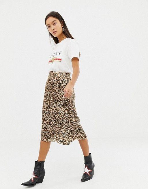 3f93e5641abc Glamorous satin midi skirt in leopard print in 2019 | Fashion | Satin midi  skirt, Midi skirt outfit, Midi skirt