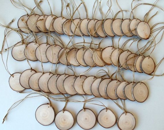 New  50 Blank White Tree Branch tags  Wood Slices  Tree