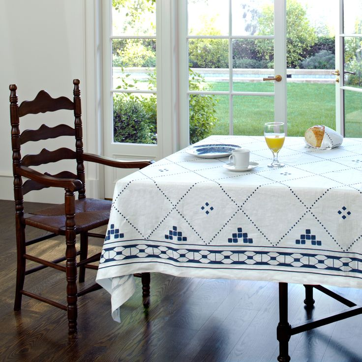 Blue and white linen tablecloth by Huddleson Linens.  Design inspired by a Moroccan tile design.