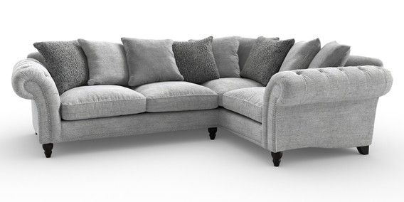 Buy Gosford Scatter Back Corner Sofa Right Hand 4 Seats Shimmer Combo Silver Low Turned Dark From Th Corner Sofa Right Hand Unwanted Furniture Small Sofa