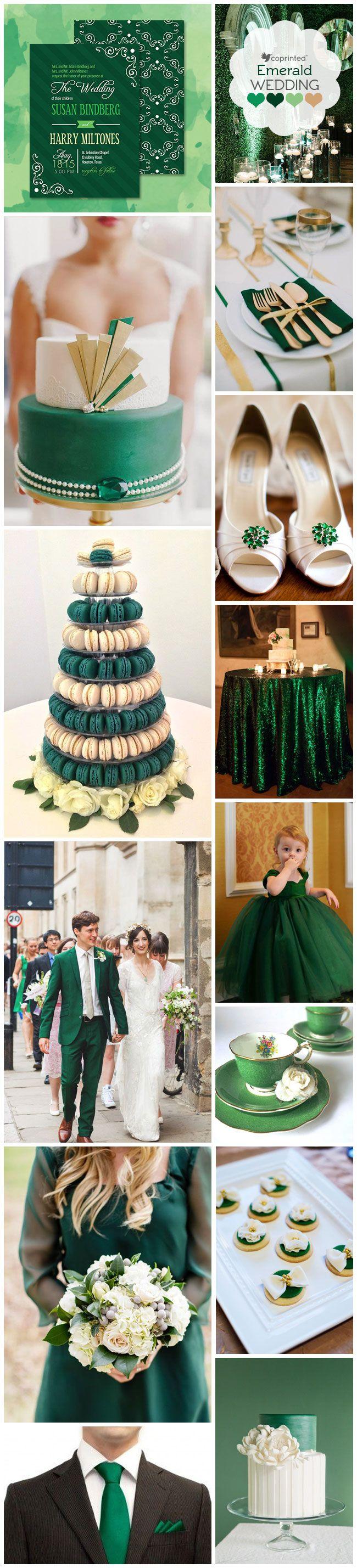 Inspiration Board using Emerald Green Wedding Invitations