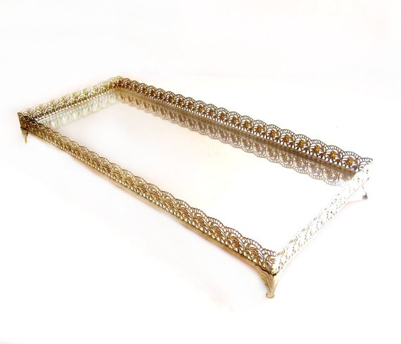 Retro Brass Vanity Dresser Mirror Tray