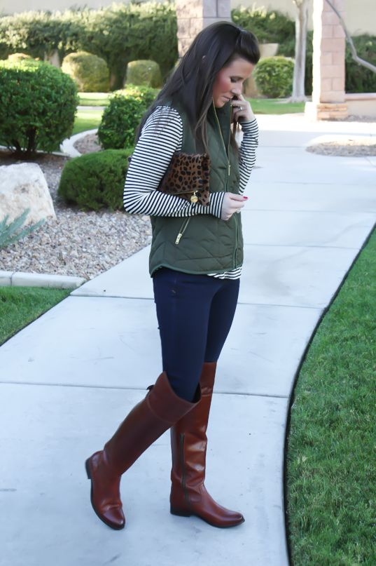Army Green Quilted Vest, Striped Tee, Dark Wash Skinny Jeans, Over the Knee Boots, Leopard Fold Over Clutch, Old Navy, Banana Republic, Frye Boots, Clare Vivier
