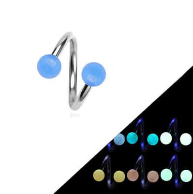 Surgical Steel Twister with Blue Glow In The Dark Ball - Pierce of Mind