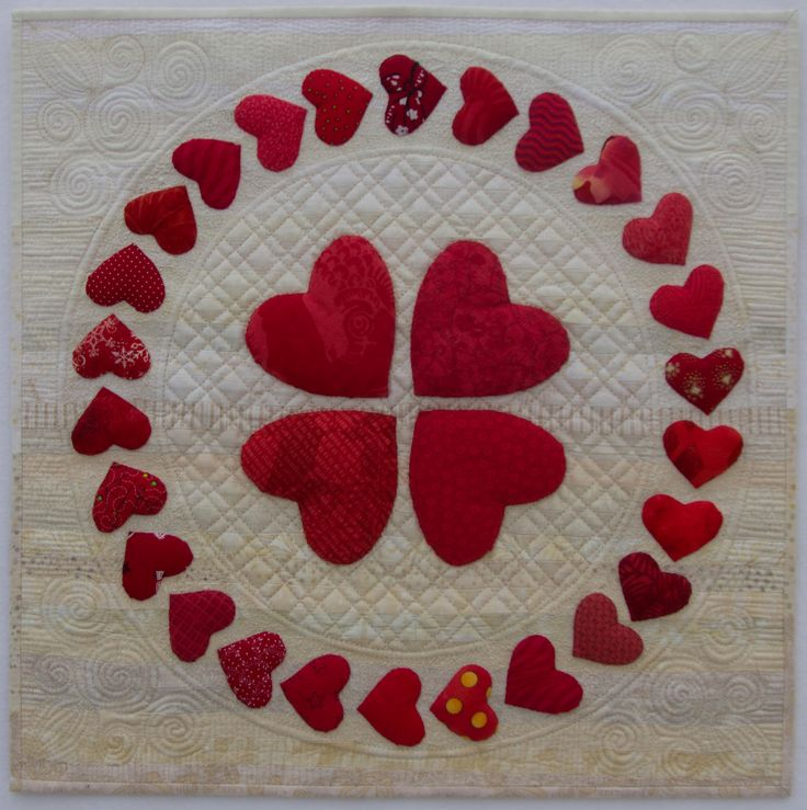 Red & White mini quilt by Ilene Atkins