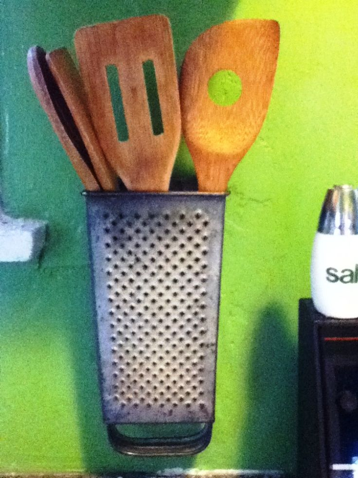 Kitchen Utensil Holder From Vintage Cheese Grater (liek this idea with several on the wall for grouping like with like)