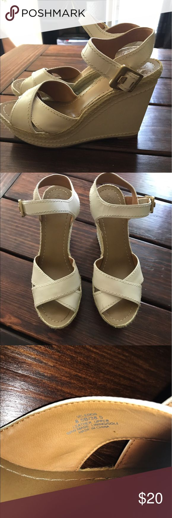 Vince Camuto cream wedge These are cute cream wedges with gold accent. Size 8.5 Vince Camuto Shoes Wedges