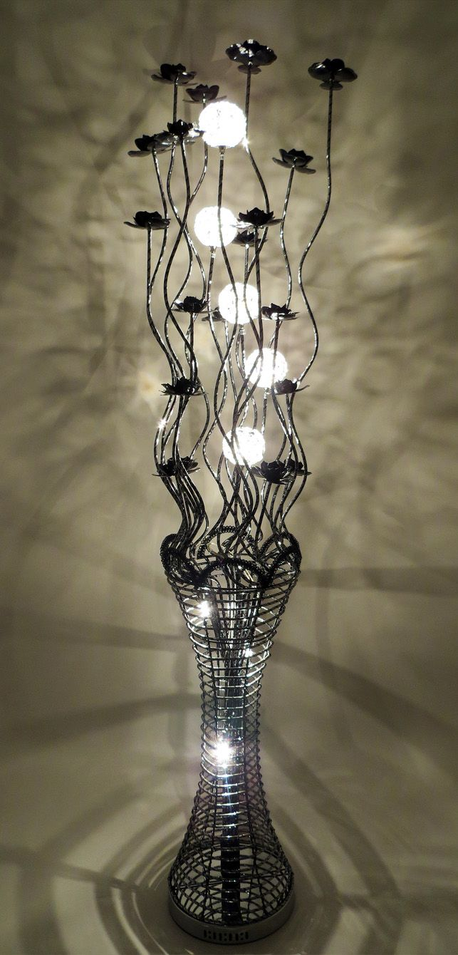 Vase Floor Lamps: Woven Wire and Aluminium Floor Lamp in all black, tall with bloomed black  flowers, featuring a fluted vase, which is illuminated by halogen bulbs, ...,Lighting