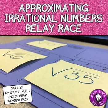 Approximating Irrational Numbers Relay Race is an engaging small group activity where students get to collaborate and approximate imperfect square roots on a number line.