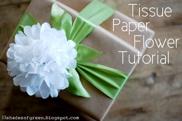 This would be a great, simple, and inexpensive centerpiece....33 Shades of Green: Tissue Paper Flower Tutorial