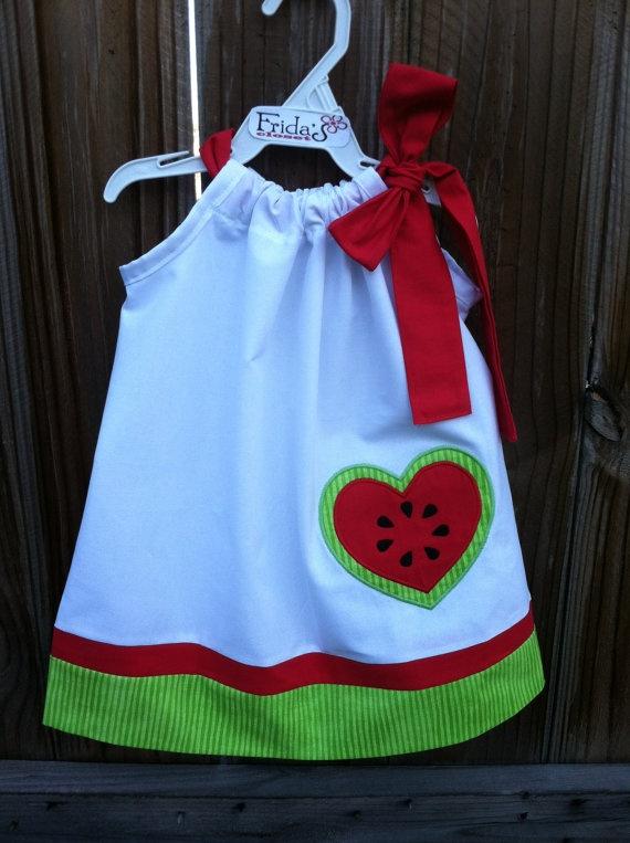 Pillowcase dress with heart watermelon applique