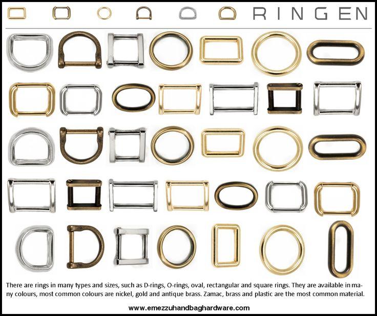 Ringen zijn er in vele soorten en maten zoals D-ringen, O-ringen, ovale ringen, rechthoekige ringen en vierkante ringen. Ze zijn verkrijgbaar in verschillende kleuren,de meest voorkomende kleuren zijn nikkel, goud en antiek brass. Op het gebied van materiaal wordt zamac, messing en kunststof het meest gebruikt.