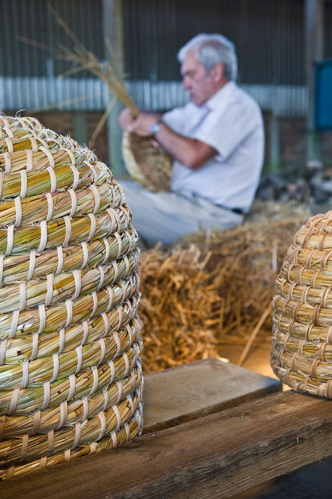 Making bee skeps - a class with Martin Buckle organised by Enfield Beekeeping Association, Enfield, England, UK