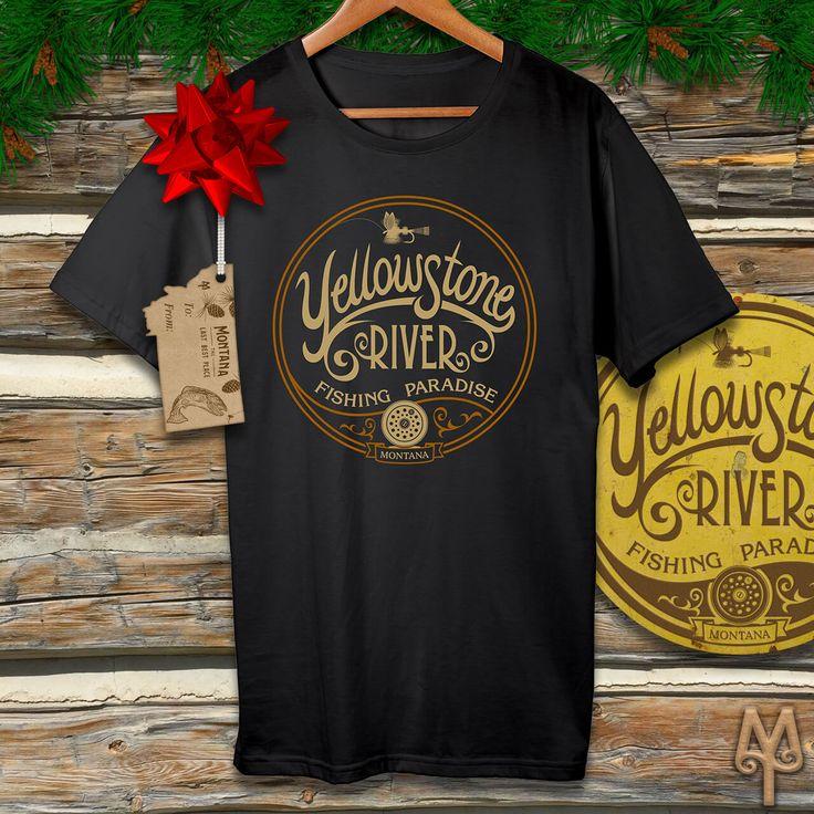 A 'Yellowstone River Fishing Paradise' black t-shirt...Montana Treasures fly fishing t-shirts make great stocking stuffer gifts for the holidays season. Shop now!
