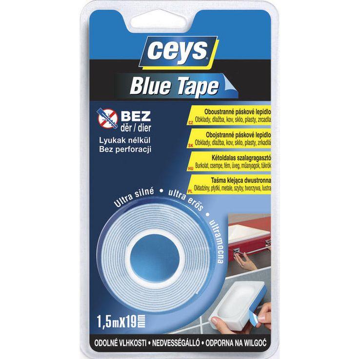 Oboustranná lepící páska Blue Tape 1,5 m - pro vertikální připevňování a lepení předmětů zvládne lehké nerovnosti povrchu spolehlivé připevnění bez děrOboustranná lepící páska Blue Tape je extrémně si