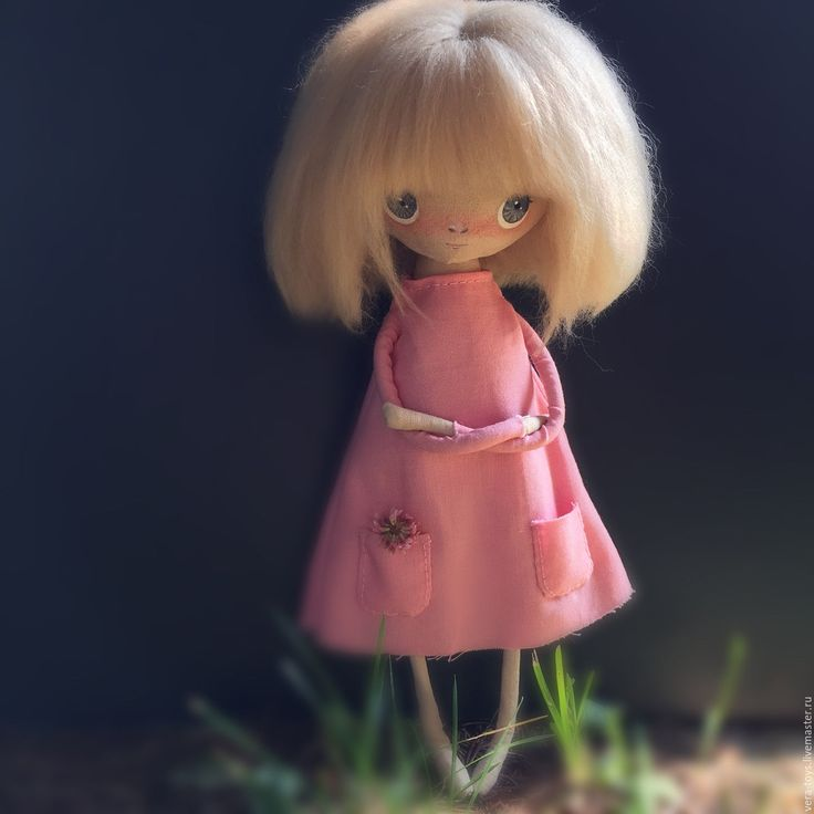 Handmade Superb Fabric doll - fabric doll, fabric, handmade doll, pink, blonde, grey eyes