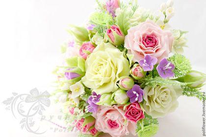 """Интерьерная композиция """"Mazzo di fiori"""". - бледно-розовый,лимонный,сиреневый"""
