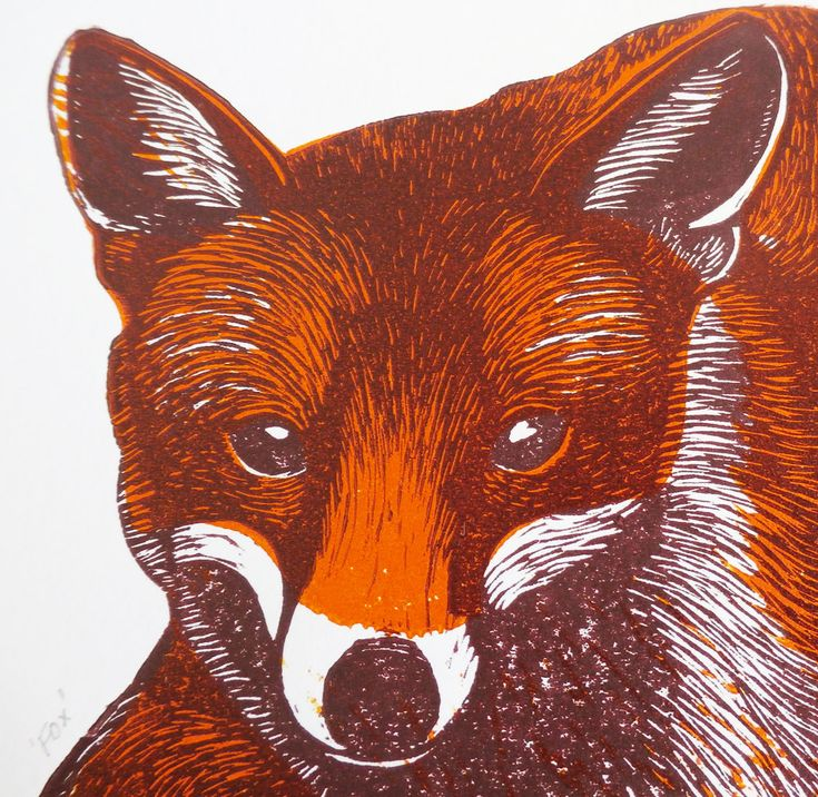 Fox, by Kat Lendacka, 2 Colours, Original Linocut Print, Signed Open Edition, Free Postage in UK, Hand Pulled, Printmaking, by KatLendacka on Etsy