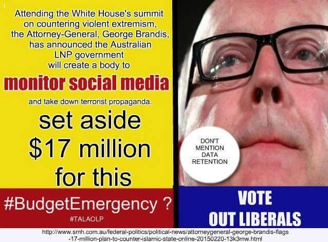 FOR OUR COUNTRY'S SAKE WE MUST VOTE OUT THE INSANE LNP PARTY AND SEND THEM PACKING ON A ONE WAY TICKET TO POLITICAL OBLIVION. PSYCHOTIC AND IDIOPATHIC LNP CULT IS A PRESENT DANGER TO OUR DEMOCRACY AND SOCIAL WELL BEING. Photo by Tony Abbott Village Idiot